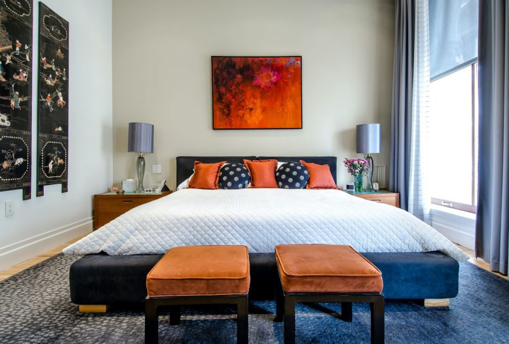 bedroom suite with personalised image